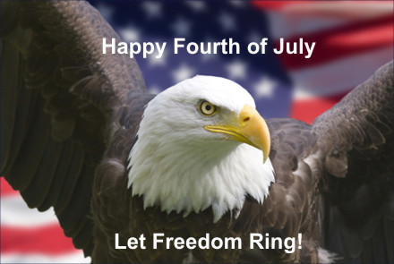A beautiful picture of an eagle, Let Freedom Ring - Happy Forth Of July